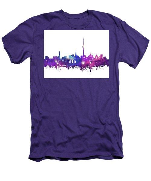 Berlin City Skyline Galaxy Men's T-Shirt (Slim Fit) by Bekim Art