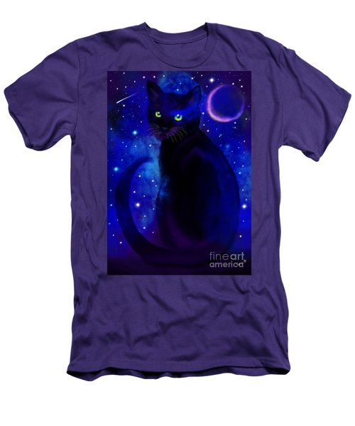 Men's T-Shirt (Slim Fit) featuring the painting Black Cat Blues  by Nick Gustafson