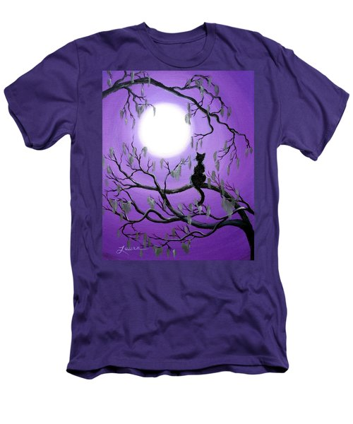 Black Cat In Mossy Tree Men's T-Shirt (Slim Fit) by Laura Iverson