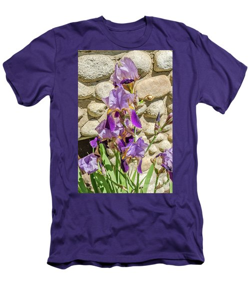 Blooming Purple Iris Men's T-Shirt (Slim Fit) by Sue Smith