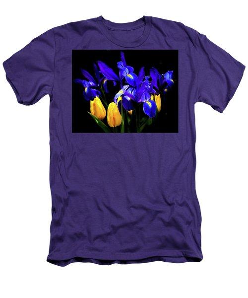 Blue Iris Waltz By Karen Wiles Men's T-Shirt (Slim Fit) by Karen Wiles