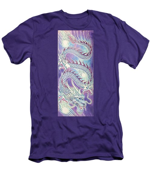 Blue Purple Japanese Dragon Men's T-Shirt (Athletic Fit)