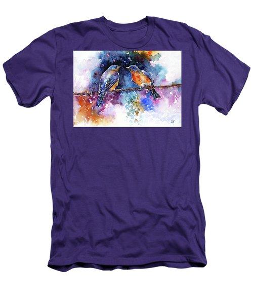 Men's T-Shirt (Slim Fit) featuring the painting Bluebirds by Zaira Dzhaubaeva