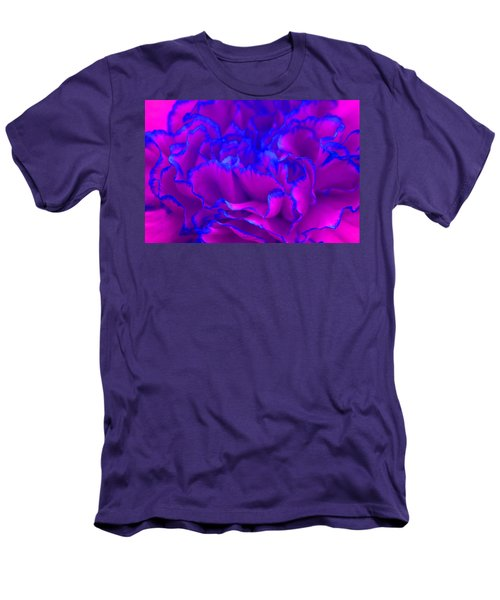 Men's T-Shirt (Slim Fit) featuring the photograph Bold Fuschia Pink And Blue Carnation Flower by Shelley Neff