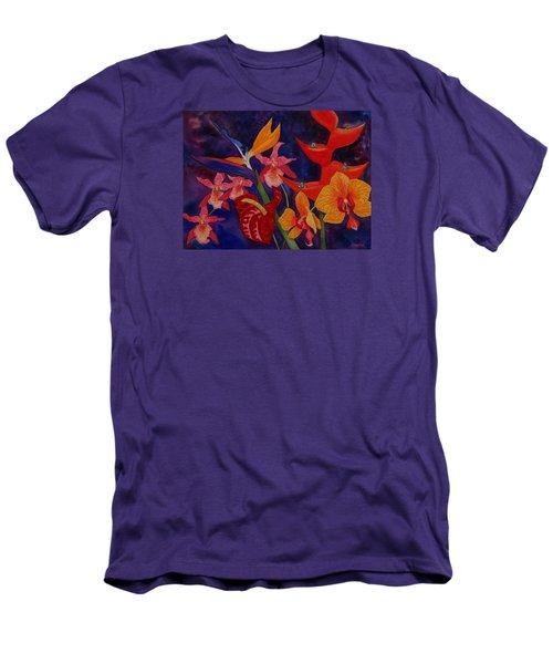 Bold Tropical Flowers Men's T-Shirt (Slim Fit) by Kerri Ligatich
