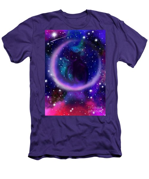 Men's T-Shirt (Slim Fit) featuring the painting Celestial Crescent Moon Cat  by Nick Gustafson