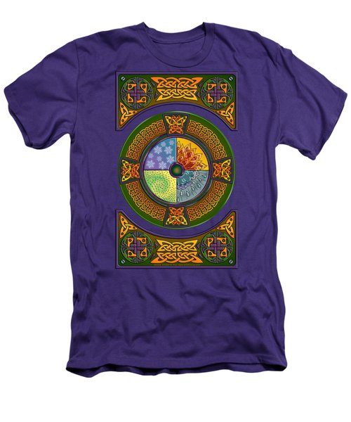 Men's T-Shirt (Slim Fit) featuring the mixed media Celtic Elements by Kristen Fox