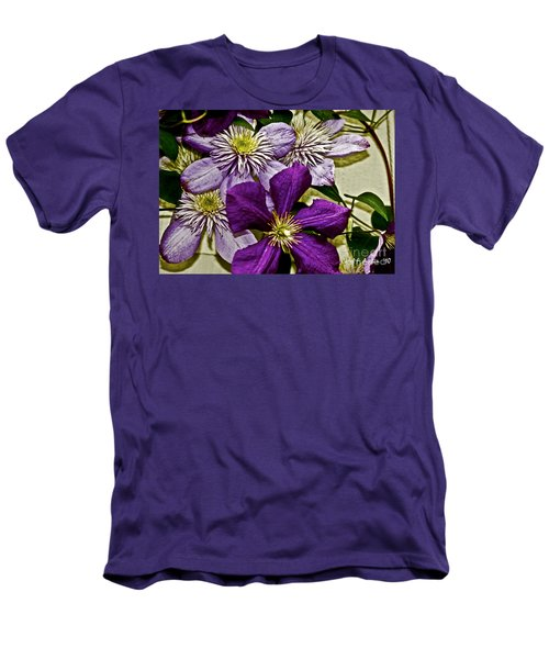 Purple Clematis Flower Vines Men's T-Shirt (Slim Fit) by Carol F Austin