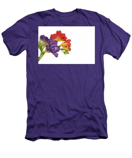 Colorful Freesias Men's T-Shirt (Slim Fit) by Elvira Ladocki