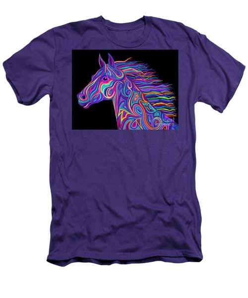 Men's T-Shirt (Slim Fit) featuring the drawing Colorful Rainbow Stallion  by Nick Gustafson