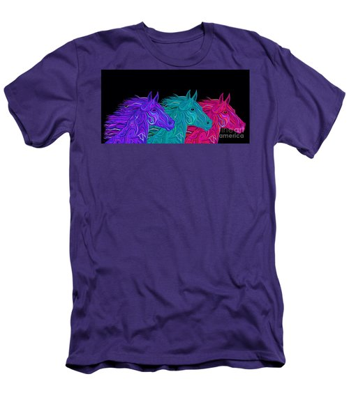 Men's T-Shirt (Slim Fit) featuring the drawing Colorful Stallions  by Nick Gustafson