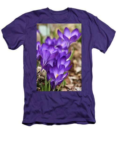 Men's T-Shirt (Slim Fit) featuring the photograph Crocuses by Larry Ricker