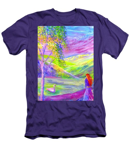 Men's T-Shirt (Slim Fit) featuring the painting Crystal Pond, Silver Birch Tree And Swan by Jane Small