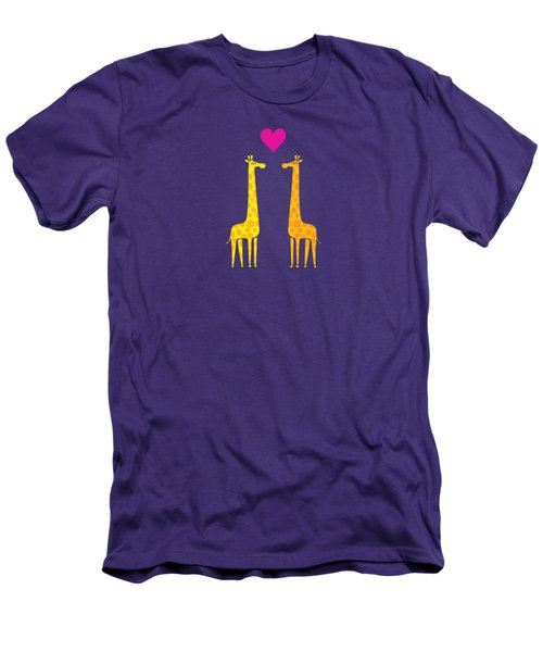 Cute Cartoon Giraffe Couple In Love Purple Edition Men's T-Shirt (Athletic Fit)