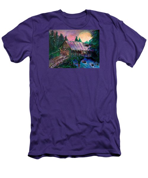 Men's T-Shirt (Slim Fit) featuring the painting Dangerous Bridge by Seth Weaver