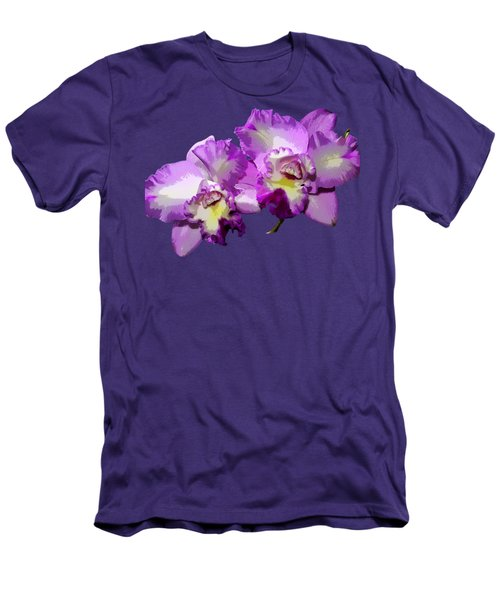 Men's T-Shirt (Slim Fit) featuring the photograph Delicate Purple Orchids by Phyllis Denton