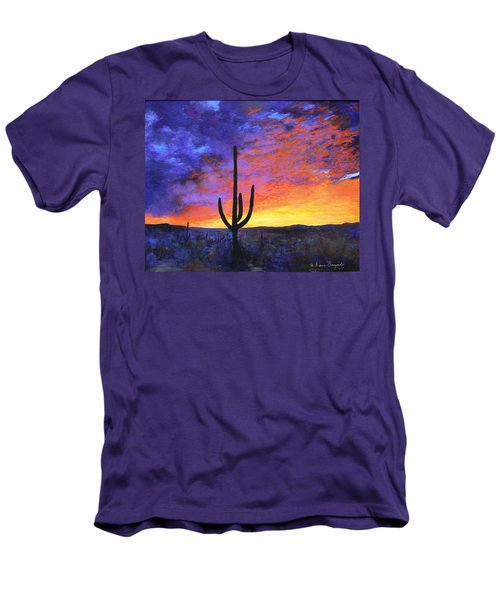 Men's T-Shirt (Slim Fit) featuring the painting Desert Sunset 4 by M Diane Bonaparte