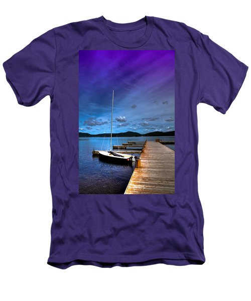 Docked On Fourth Lake Men's T-Shirt (Slim Fit) by David Patterson