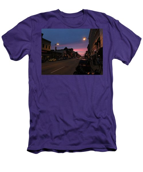 Men's T-Shirt (Athletic Fit) featuring the photograph Downtown Racine At Dusk by Mark Czerniec