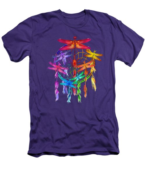 Men's T-Shirt (Slim Fit) featuring the mixed media Dragonfly Dreams by Carol Cavalaris