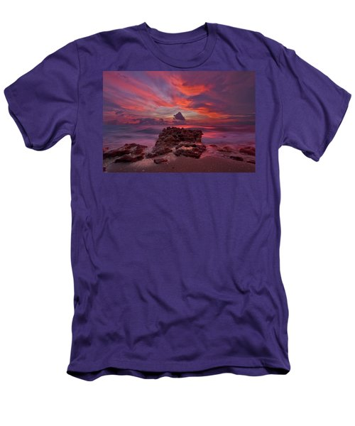 Dramatic Sunrise Over Coral Cove Beach In Jupiter Florida Men's T-Shirt (Slim Fit) by Justin Kelefas