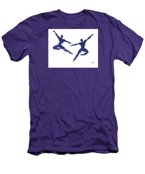 Men's T-Shirt (Slim Fit) featuring the painting Duo Leap Blue by Shungaboy X