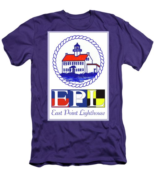 Men's T-Shirt (Slim Fit) featuring the digital art East Point Lighthouse Poster - 2 by Nancy Patterson