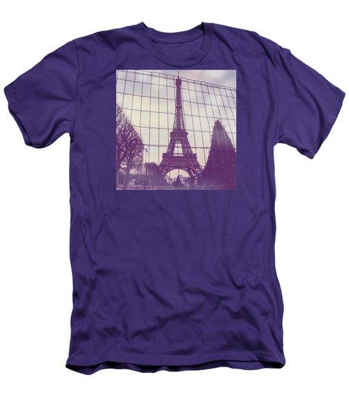 Eiffel Tower Through Fence Men's T-Shirt (Slim Fit) by Aurella FollowMyFrench