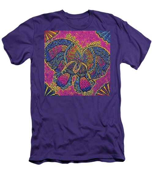 Electric Butterfly 2  Men's T-Shirt (Slim Fit) by Megan Walsh