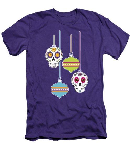 Men's T-Shirt (Slim Fit) featuring the digital art Feliz Navidad Holiday Sugar Skulls by Tammy Wetzel