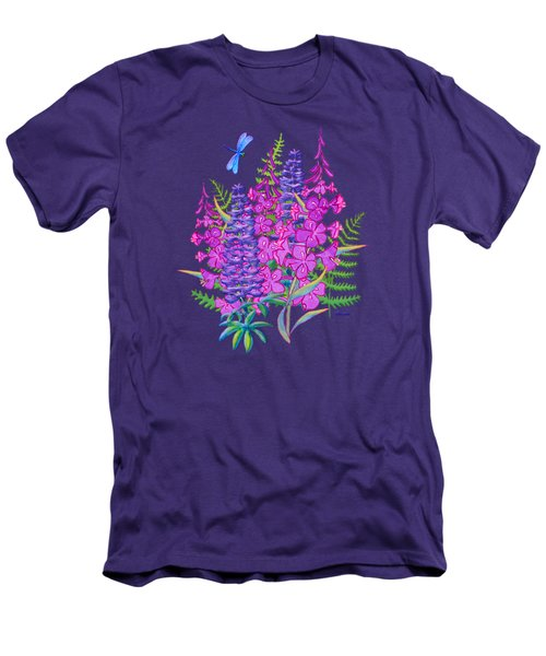 Fireweed And Lupine T Shirt Design Men's T-Shirt (Slim Fit) by Teresa Ascone