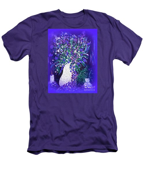 Men's T-Shirt (Slim Fit) featuring the painting Flower Art  Spring Flowers In A Vase by Sherri  Of Palm Springs