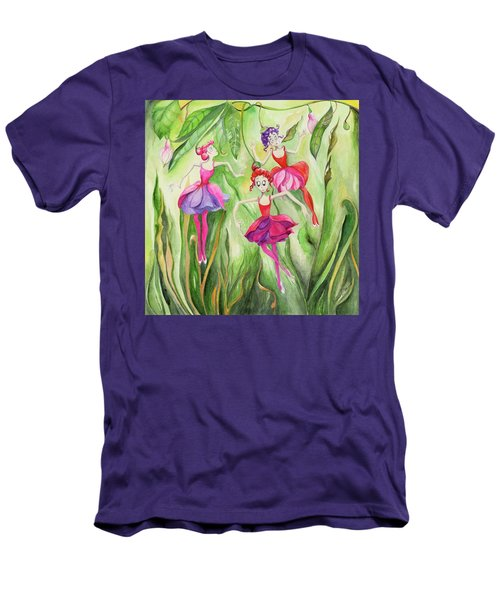 Men's T-Shirt (Slim Fit) featuring the painting Fuschia On Discovering The Truth by Nadine Dennis