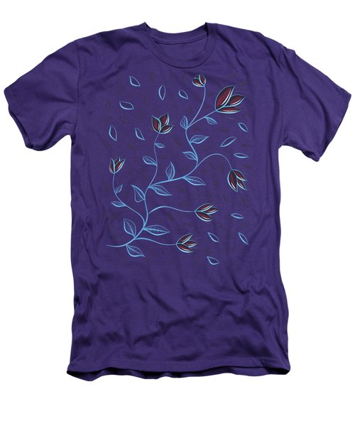 Glowing Blue Abstract Flowers Men's T-Shirt (Athletic Fit)