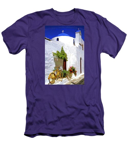 Greek Church With Bike Men's T-Shirt (Slim Fit) by Dennis Cox WorldViews