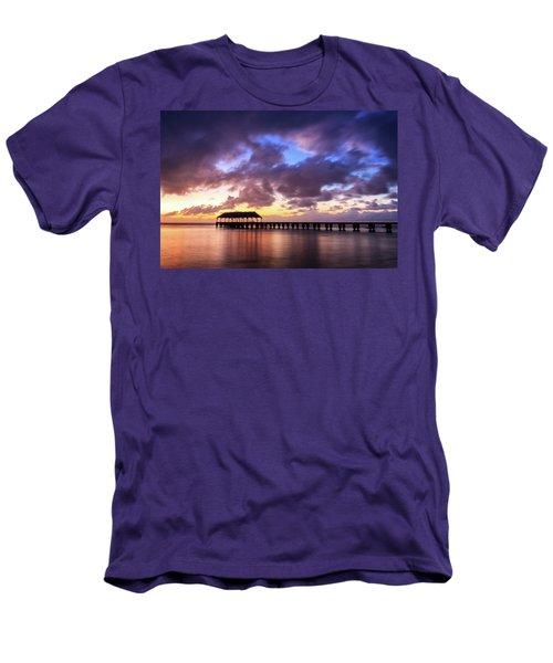 Hanalei Pier Men's T-Shirt (Slim Fit) by James Eddy
