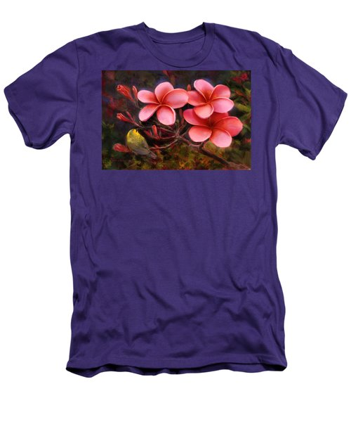 Men's T-Shirt (Slim Fit) featuring the painting Hawaiian Pink Plumeria And Amakihi Bird by Karen Whitworth