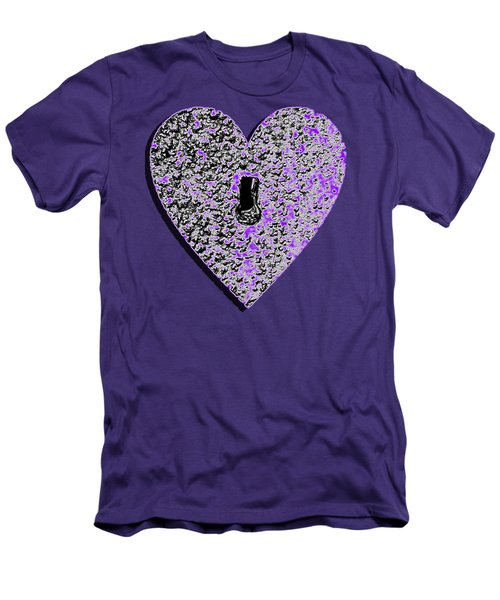 Men's T-Shirt (Slim Fit) featuring the photograph Heart Shaped Lock Purple .png by Al Powell Photography USA