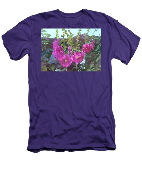 Men's T-Shirt (Slim Fit) featuring the painting Hollyhock Necklace by Jane Autry