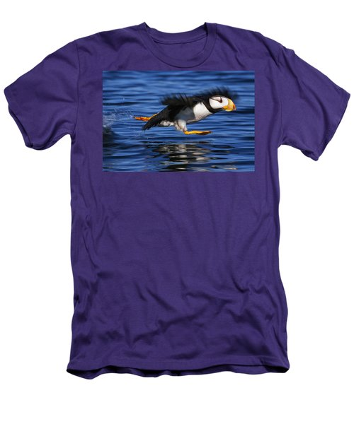 Horned Puffin  Fratercula Corniculata Men's T-Shirt (Slim Fit) by Marion Owen