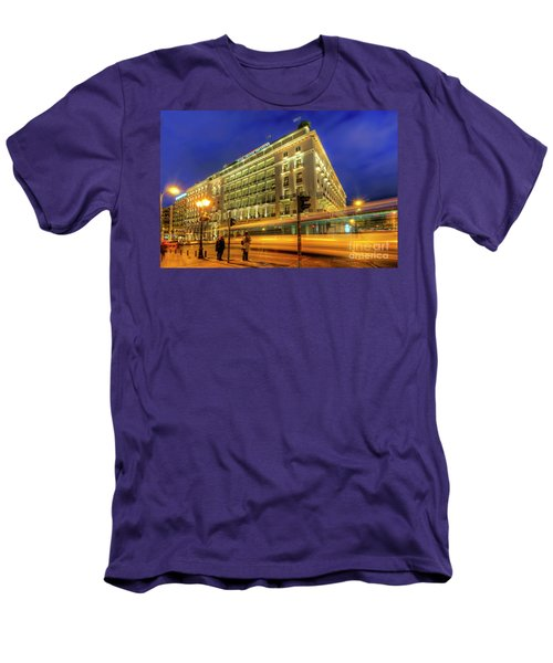 Men's T-Shirt (Slim Fit) featuring the photograph Hotel Grande Bretagne - Athens by Yhun Suarez