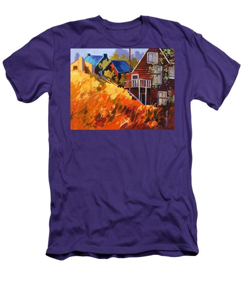 Men's T-Shirt (Slim Fit) featuring the painting Houses On The Hill by Rae Andrews