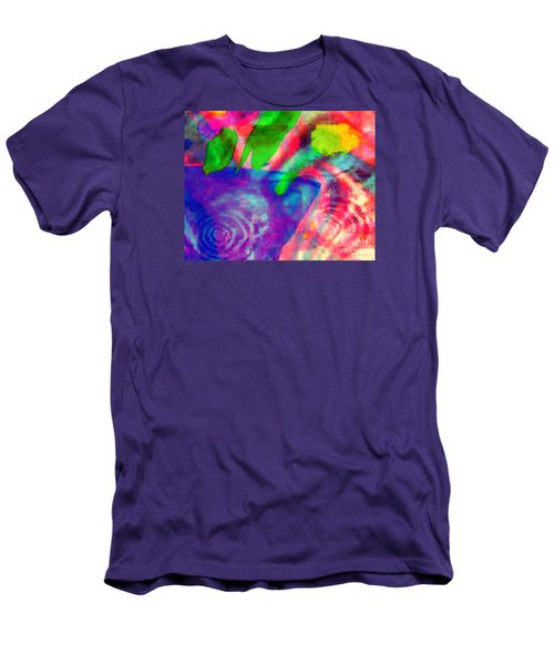 Men's T-Shirt (Slim Fit) featuring the mixed media Inspired Flower Pot by Fania Simon