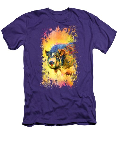 Jazzy Pig Colorful Animal Art By Jai Johnson Men's T-Shirt (Athletic Fit)