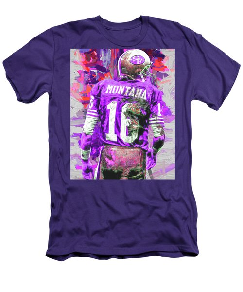 Men's T-Shirt (Slim Fit) featuring the photograph Joe Montana 16 San Francisco 49ers Football by David Haskett