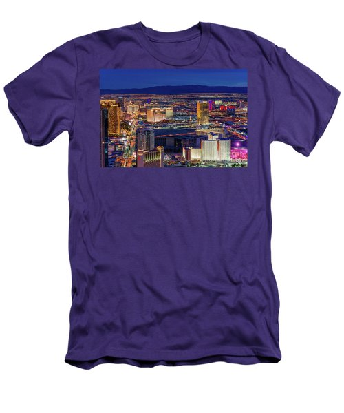Men's T-Shirt (Slim Fit) featuring the photograph Las Vegas Strip From The Stratosphere Wide by Aloha Art