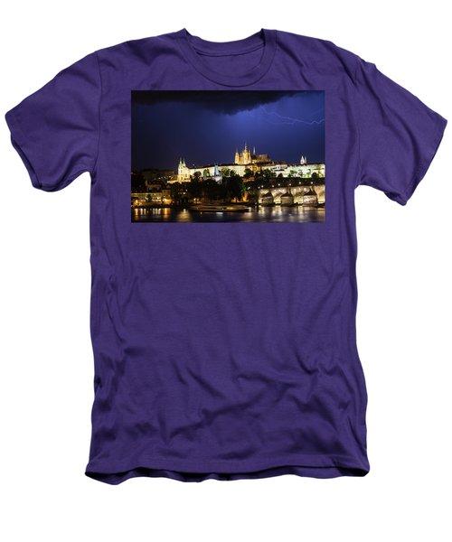 Men's T-Shirt (Athletic Fit) featuring the photograph Lightning Over Prague Castle by Alex Lapidus