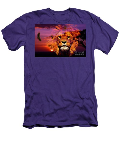 Lion And Eagle In A Sunset Men's T-Shirt (Slim Fit) by Annie Zeno