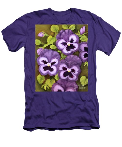 Lovely Purple Pansy Faces Men's T-Shirt (Slim Fit) by Inese Poga