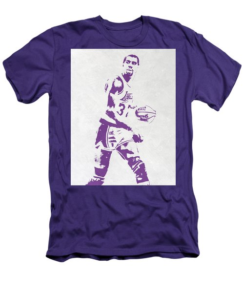 Magic Johnson Los Angeles Lakers Pixel Art Men's T-Shirt (Athletic Fit)